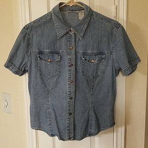 Blue jean top with snaps never worn